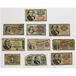 10 PIECES CIRC FRACTIONAL CURRENCY