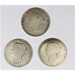 THREE CANADA HALF DOLLARS