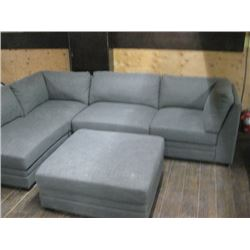 5PC USED MODULAR COUCH SET GREY FABRIC
