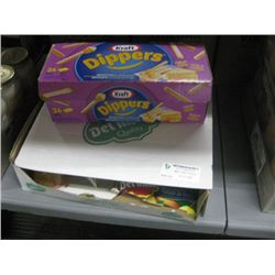 1/4 BOX KRAFT DIPPERS AND 1/4 BOX DEL MONTE VERY CHERRY FRUIT CUPS