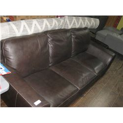 POSSIBLY LEATHER BROWN COUCH