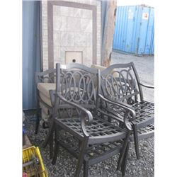 6 CHAIRS AND TILE DAMAGED PATIO TABLE