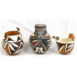 3 Pieces of Native American Acoma Pottery