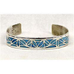Zuni Sterling Turquoise Cuff Bracelet by Naktewa