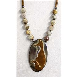 Agate Bead and Sterling Silver Pendant Necklace