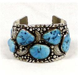 Navajo Sterling Turquoise Bracelet, Ganadonegro