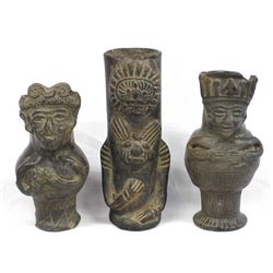 3 Pieces of Estate Mayan Designed Pottery