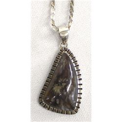 Sterling Silver and Plume Agate Pendant Necklace
