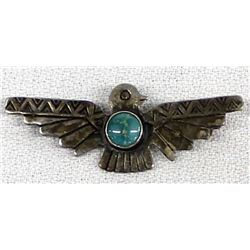 Vintage Route 66 Navajo Sterling Turquoise Pin