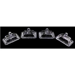 4 Individual Candlewick Glass Butter Dishes