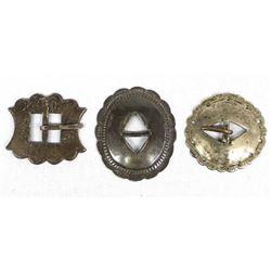 3 Vintage Concho Buckles