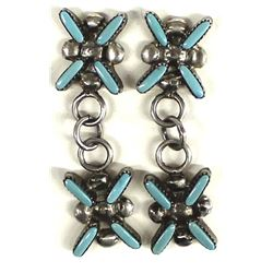 Zuni Sterling Needlepoint Turquoise Earrings