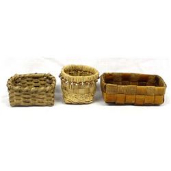 3 Native American Micmac Baskets