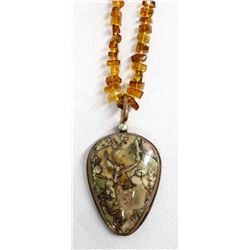 Amber Bead and Copper Variscite Pendant Necklace