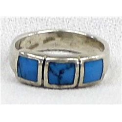 Sterling Silver and Inlay Turquoise Ring, Size 7