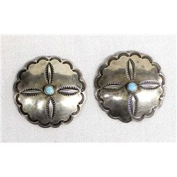 2 Vintage Navajo Sterling Turquoise Buttons