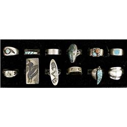 12 Sterling Silver Rings, Mostly Native American