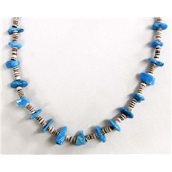 Navajo Sterling Turquoise & Shell Heishi Necklace