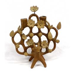 Vintage Mexican Clay Tree of Life Candle Holder