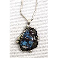 Navajo Sterling Blue Gem Turquoise Necklace
