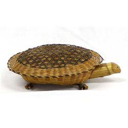 Vintage Asian Lidded Wicker Turtle Basket