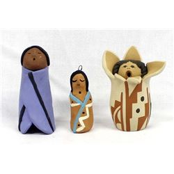 3 Pieces of Native American Pottery Storytellers
