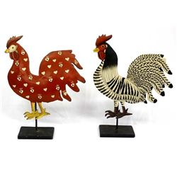 2 Hand Painted Metal Folk Art Roosters