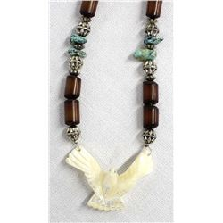 Silver and Pipestone Bead Bird Fetish Necklace