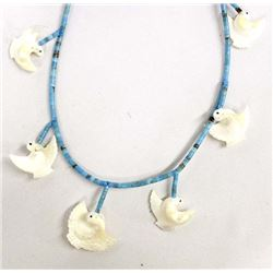 Navajo Sterling Turquoise Bird Fetish Necklace