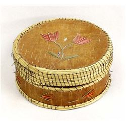 Iroquois Birch Bark and Porcupine Quill Basket