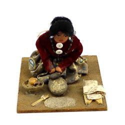 Native American Navajo Doll Grinding Corn