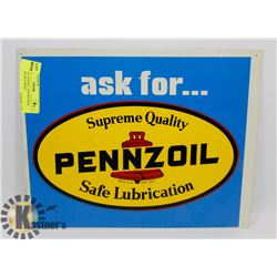 VINTAGE PENZOIL ADVERTISING SIGN DOUBLE SIDED.