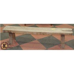 ANTIQUE WOOD BENCH 63 X 9 X 16 HIGH