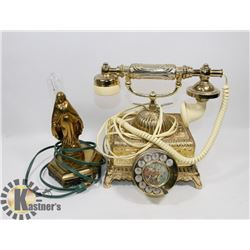 VINTAGE ROTARY PHONE AND VINTAGE BRASS