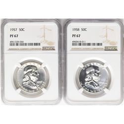 Lot of 1957 & 1958 Franklin Half Dollar Coins NGC PF67