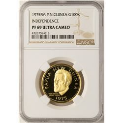 1975FM P.N. Guinea 100 K Independence NGC PF69 Ultra Cameo