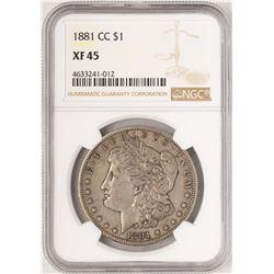 1881-CC $1 Morgan Silver Dollar Coin NGC XF45