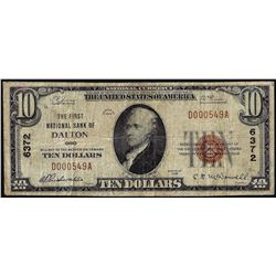 1929 $10 First NB Dalton, OH CH# 6372 National Currency Note