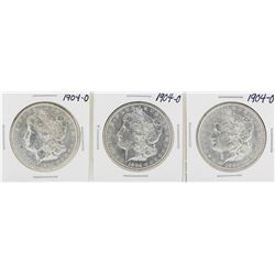 Lot of (3) 1904-O $1 Morgan Silver Dollar Coins