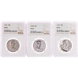 Lot of 1957-1959 Franklin Half Dollar Coins NGC PF67