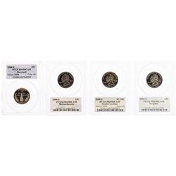 Lot of (4) 2000-S Proof State Quarter Coins PCGS PR69DCAM