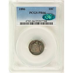 1886 Proof Seated Liberty Dime Coin Arrows PCGS PR66 CAC Amazing Toning