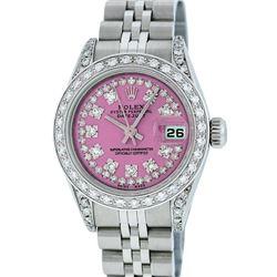 Rolex Ladies Stainless Steel Quickset Pink String Diamond Lugs Datejust Wristwatch
