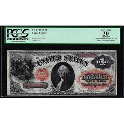 1878 $1 Legal Tender Note Fr.27 PCGS Very Fine 20 Apparent