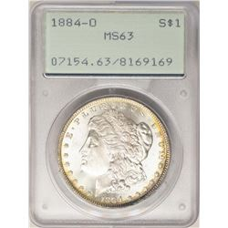 1884-O $1 Morgan Silver Dollar Coin PCGS MS63 Rattler Holder Amazing Reverse Toning
