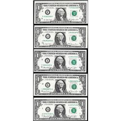 Lot of (5) $1 Federal Reserve Notes Minor Shift Errors