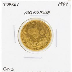 1909 Turkey 100 Kurush Gold Coin
