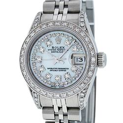 Rolex Ladies Stainless Steel 26MM MOP Diamond Lugs Datejust Watch