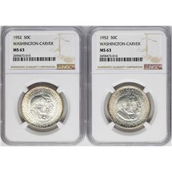 Lot of (2) 1952 Washington-Carver Commemorative Half Dollar Coins NGC MS63