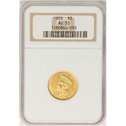 1859 $3 Indian Princess Head Gold Coin NGC AU53
